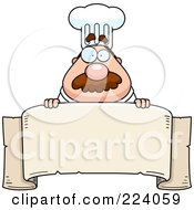 Royalty Free RF Clipart Illustration Of A Chubby Chef Over A Blank Banner