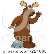 Royalty Free RF Clipart Illustration Of A Big Moose Sitting On A Rock