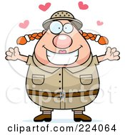 Royalty Free RF Clipart Illustration Of A Chubby Safari Woman In Love