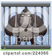 Royalty Free RF Clipart Illustration Of A Caged Ape Grasping The Bars
