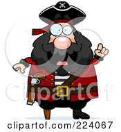 Royalty Free RF Clipart Illustration Of A Chubby Pirate With An Idea