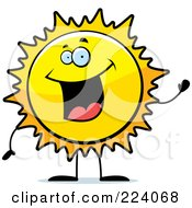 Royalty Free RF Clipart Illustration Of A Happy Sun Waving by Cory Thoman