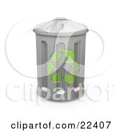 Clipart Illustration Of A Tall Metal Recycle Trash Can With Green Arrows On The Side