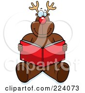 Royalty Free RF Clipart Illustration Of Rudolph Sitting And Reading A Red Book by Cory Thoman