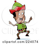 Royalty Free RF Clipart Illustration Of A Happy Black Male Elf Dancing