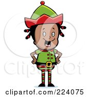 Royalty Free RF Clipart Illustration Of A Happy Black Female Elf
