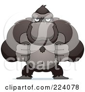 Royalty Free RF Clipart Illustration Of A Flexing Ape With Fists by Cory Thoman