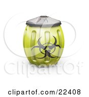 Clipart Illustration Of A Yellow Metal Biohazard Bin With A Symbol On The Side Bulging Because Its Full