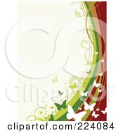 Royalty Free RF Clipart Illustration Of A Border Of Butterflies And Waves