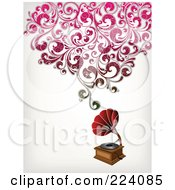 Royalty Free RF Clipart Illustration Of A Grammophone With Floral Sound