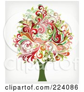 Royalty Free RF Clipart Illustration Of A Tree With Flourish Foliage by OnFocusMedia