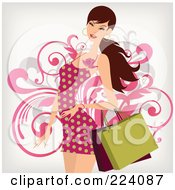Royalty Free RF Clipart Illustration Of A Beautiful Shopping Woman In A Red Polka Dot Dress