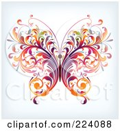 Royalty-Free (RF) Clipart Illustration of a Colorful Floral Butterfly by OnFocusMedia