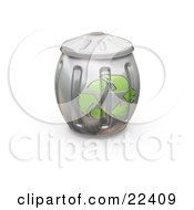 Clipart Illustration Of A Full And Bulging Metal Recycle Can With Green Arrows On The Side