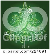 Royalty Free RF Clipart Illustration Of An Ornate Christmas Tree Of Swirls On Green by OnFocusMedia