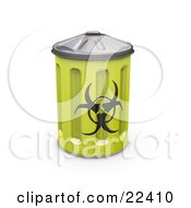 Yellow Metal Biohazard Bin With A Symbol On The Side
