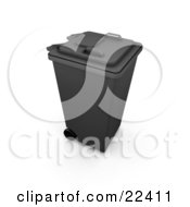 Clipart Illustration Of A Closed Black Trash Can With Wheels