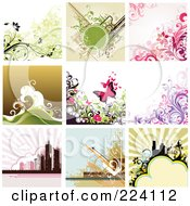Royalty Free RF Clipart Illustration Of A Digital Collage Of Background Designs 1 by OnFocusMedia