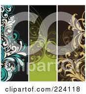 Digital Collage Of Vertical Floral Borders 1