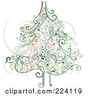 Royalty Free RF Clipart Illustration Of An Ornate Green Swirl Christmas Tree by OnFocusMedia