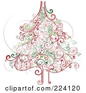 Royalty Free RF Clipart Illustration Of An Ornate Red And Green Swirl Christmas Tree by OnFocusMedia