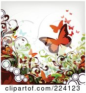 Royalty Free RF Clipart Illustration Of A Grungy Flourish And Butterfly Background