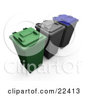 Clipart Illustration Of A Row Of Closed Green Black And Blue Recycle And Trash Cans With Wheels by KJ Pargeter