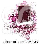 Royalty Free RF Clipart Illustration Of A Dark Text Box With Grungy Pink Swirls Butterflies And Circles by OnFocusMedia