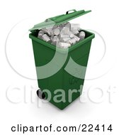 Green Wheeled Recycle Bin Full Of Aluminum Cans