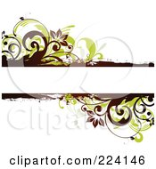 Text Bar Bordered In Green Leaves Flowers And Grunge