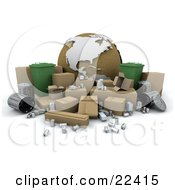 Clipart Illustration Of A Cardboard Globe Surrounded By Green Recycle Binsm Cardboard Boxes Tin Cans And Metal Trash Bins by KJ Pargeter