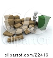 Clipart Illustration Of A White Character Surrounded By Cardboard Boxes Wondering How Hes Going To Break Them Down And Fit Them All Into A Green Recycle Bin by KJ Pargeter