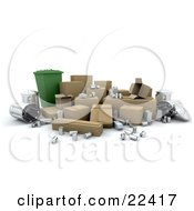 Clipart Illustration Of A Green Recycle Bin Surrounded By Cardboard Boxes Tin Cans And Metal Trash Bins