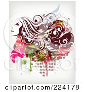 Royalty Free RF Clipart Illustration Of A Beautiful Long Haired Woman Over Floral Grunge 1 by OnFocusMedia