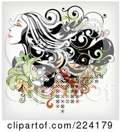 Royalty Free RF Clipart Illustration Of A Beautiful Long Haired Woman Over Floral Grunge 2 by OnFocusMedia