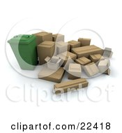 Clipart Illustration Of A Green Recycling Bin Surrounded By Cardboard Boxes