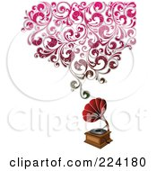Royalty Free RF Clipart Illustration Of A Phonograph With Floral Sound