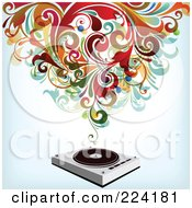 Royalty Free RF Clipart Illustration Of Swirls Over A Record Player by OnFocusMedia