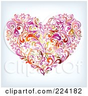 Royalty Free RF Clipart Illustration Of A Flourish Heart by OnFocusMedia