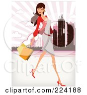 Royalty Free RF Clipart Illustration Of A Beautiful Woman Shopping In A City