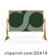 Clipart Illustration Of A Green Chalk Board With A Wooden Frame Wiped Clean And Standing In A Classroom