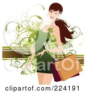 Royalty Free RF Clipart Illustration Of A Beautiful Woman Shopping In A Green Dress