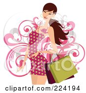 Royalty Free RF Clipart Illustration Of A Beautiful Woman In A Red Polka Dot Dress Carrying Shopping Bags