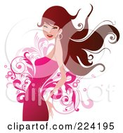 Royalty Free RF Clipart Illustration Of A Beautiful Woman In A Pink Dress Over Flourishes