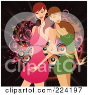 Royalty Free RF Clipart Illustration Of Two Beautiful Women Dancing In Front Of Speakers On Black