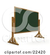 Clipart Illustration Of A Blank Green Chalkboard On Wooden Legs In A Class Room