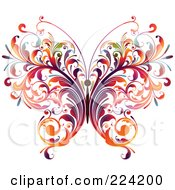 Royalty Free RF Clipart Illustration Of A Colorful Flourish Butterfly by OnFocusMedia