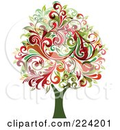 Royalty Free RF Clipart Illustration Of A Flourish Foliage Tree by OnFocusMedia