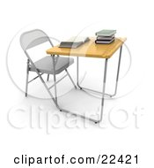 Clipart Illustration Of A Single Student School Desk In A Class Room With A Wooden Surface And A Groove For Pencils An Open Book And A Stack Of Books On Top by KJ Pargeter