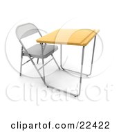 Single Student School Desk In A Class Room With A Metal Chair Wooden Surface And A Groove For Pencils